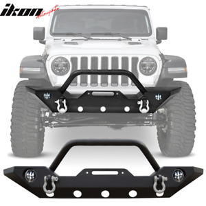 Fits 19 20 Jeep Wrangler Jl D Rings Iron Steel Front Bumper Guard W o Fog Lights