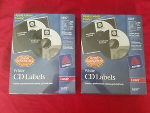2 Sealed Boxes Avery White Cd dvd Labels Laser 5697 250 Disc 500 Spine