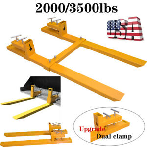 2000 3500lb Clamp On Pallet Forks Loader Bucket Skidsteer Tractor Chain Bar