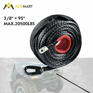 Synthetic Winch Rope Winch Line Cable 20500lbs Protective Sleeve 95ft X 3 8 New