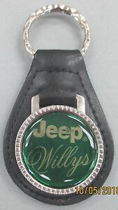 Vintage Green Jeep Willys Chrome Key Ring Black Leather 3302 Key Fob