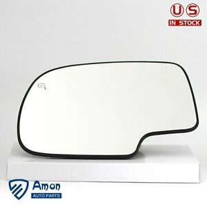 For 99 07 Chevy Silverado Gmc Sierra Power Heated Driver Side Left Mirror Glass