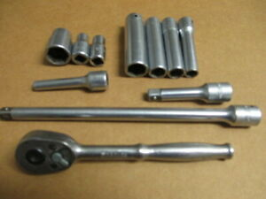 Lot Of 11 Snap On Tool Assortment Sockets Extensions Ratchet All Snap On