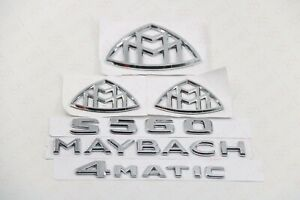 6pc Chrome Abs Trunk Emblem Badge Sticker For Mercedes Benz S class Maybach S560