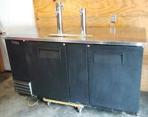 Bar Beer Keg Cooler True Kegerator Refrigerator 69 x43 x27 Tap Stainless Used
