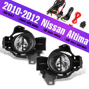 Fits 10 12 Nissan Altima Fog Lights Clear Lens Assembly Lamps Switch wring Kit