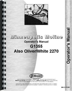 Minneapolis Moline G1355 Oliver 2270 Tractor Operators Owners Manual