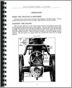 Operators Manual Allis Chalmers U Tractor