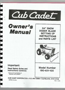 Ih International Cub Tractor 54 Front Blade Attachment Owners Operators Manual