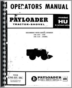 Hough Hu Pay Loader Owners Operators Manual