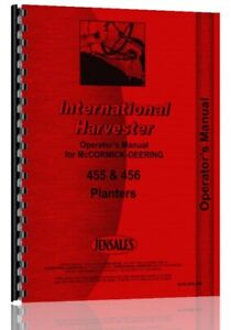 Operators Manual International Harvester 455 456 Planter