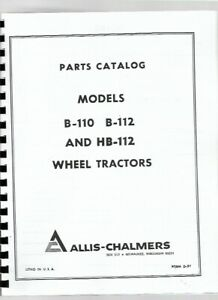 Allis Chalmers Hb 112 B 110 B 112 Lawn Garden Tractor Parts Manual Catalog