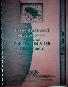 Parts Manual International Harvester 154 184 185 Cub Tractor Attachments