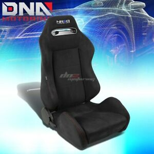 Nrg Reclinable Black Suede Type R Style Racing Seat Slider Rail Passenger Right