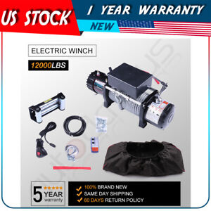 12v 12000lb Electric Winch Towing Trailer Steel Cable Off Road For Jeep W Cover