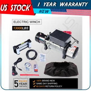 13000lbs Electric Winch 12v Steel Cable Offroad For Jeep Towing Trailer W cover