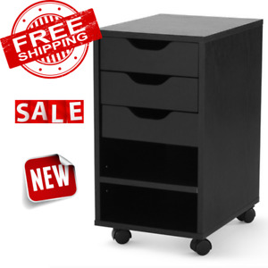 File Cabinet 3 Drawer Storage Mobile Office Furniture Home Utility Cart Wood New