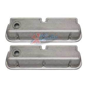 Small Block Ford Sbf 289 302 Finned Aluminum Tall Valve Covers Polished Pair