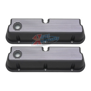 Small Block Ford Sbf 289 302 Finned Aluminum Tall Valve Covers Black Pair