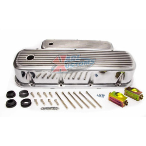 Bbc Big Block Chevy Tall Retro Finned Valve Covers With Hole Polished Aluminum