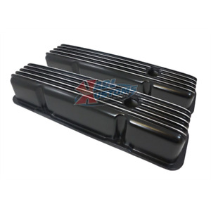 Small Block Chevy Sbc 327 350 383 400 Tall Black Finned Aluminum Valve Cover