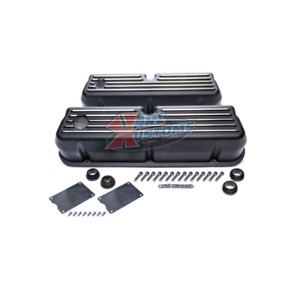 Small Block Ford Sbf 289 302 Tall Style Retro Finned Black Aluminum Valve Covers