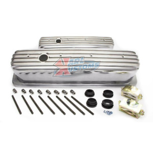 Sbc Small Block Chevy 87 Tall Polished Aluminum Finned Center Bolt Valve Covers