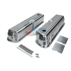 Small Block Ford Sbf 289 302 Aluminum Valve Covers Tall Finned W Hole
