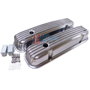 Pontiac 326 455 V8 Engine Polished Retro Finned Aluminum Valve Covers W Holes