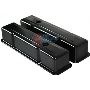 Sbc Small Block Chevy 327 350 400 Tall Style Black Painted Steel Valve Covers