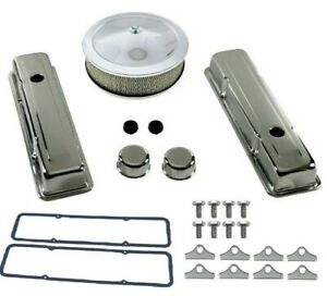 Chrome Air Cleaner Kit Valve Covers Gaskets Breathers 327 350 383 Sbc Tall