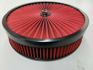 Air Cleaner Chevrolet Red Black Washable Top Filter 14x3 Edelbrock Holley