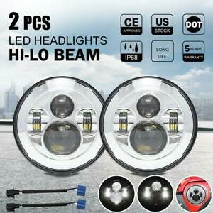Pair 7 Inch Round Led Headlights Hi lo Beam For Freightliner Coronado 2001 2016