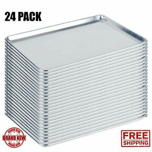24 Pack Full Size Aluminum 18x26 Bun Sheet Baking Pan Wire In Rim Commercial Cps