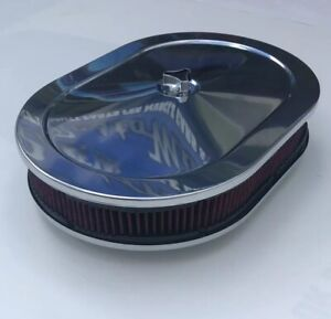 Ford Chrome Air Cleaner Oval 12 Red Washable Filter 289 302 460