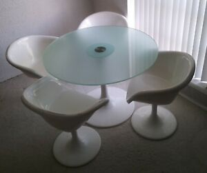 Atomic Mcm Vtg Tulip Glass Top Table 4 Swivel Arm Chairs Saarinen Knoll Burke
