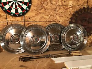 1950 s Ford Hubcaps Original Fine Condition Rare Vintage Antique Car Parts