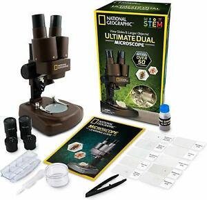 National Geographic Dual Led Student Microscope 50 pc Science Kit Set Of 10