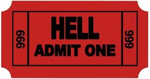 Ticket To Hell Funny Cool Sticker Decal 3 5 X 2