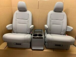 New Takeouts Oem Gray Leather 2 Bucket Seats Console Truck Van Bus Rv Hotrod