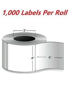4 Rolls 4000 Labels 4x6 Thermal Transfer Shipping Label Required Ribbon 3 Core