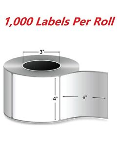 1 Rolls 4 X 6 Zebra Direct Thermal Shipping Label 1000 Labels 3 Core