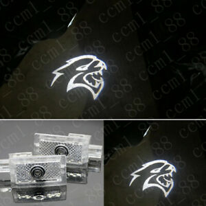 White Hellcat Logo Under Led Puddle Projector Ghost Lights Hd For Dodge Charger