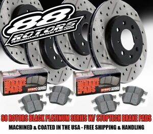 F r 88 Rotors Bps Drilled Slotted Brake Rotors Stoptech Pads Evo 8 9 Viii Ix