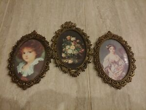 3 Vintage Action Convex Glass Metal Frames Floral Lady Girl Italy