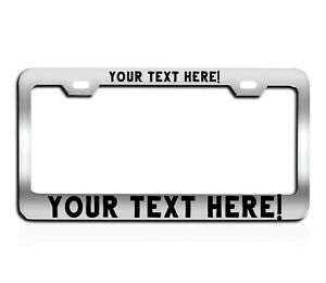 Custom Chrome License Plate Frame Tag Personalized Vinly Or Laser Engraving
