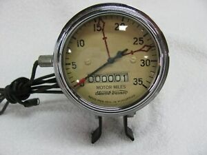 Stewart Warner 3500 Rpm Motor Miles Tachometer Curved Glass 3 Inch Cable Driven