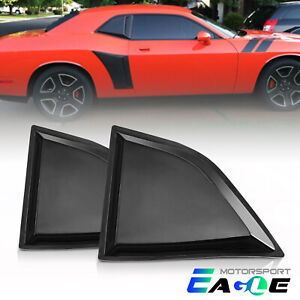 Fit 2008 2017 Dodge Challenger Glossy Black Full Side Window Louver Scoop Cover
