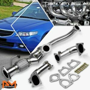 For 03 07 Honda Accord 3 0l V6 J30a Stainless Steel 2 1 Exhaust Header Manifold