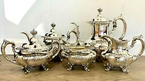 Burgundy By Reed Barton 5 Piece Sterling Tea Set